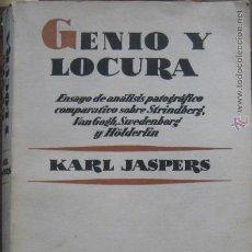 Libros de segunda mano: KARL JASPERS / GENIO Y LOCURA . Lote 47515392