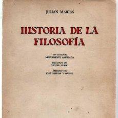 Libros de segunda mano: JULIAN MARIAS. HISTORIA DE LA FILOSOFIA. 22 EDICION. REVISTA DE OCCIDENTE. Lote 48298380