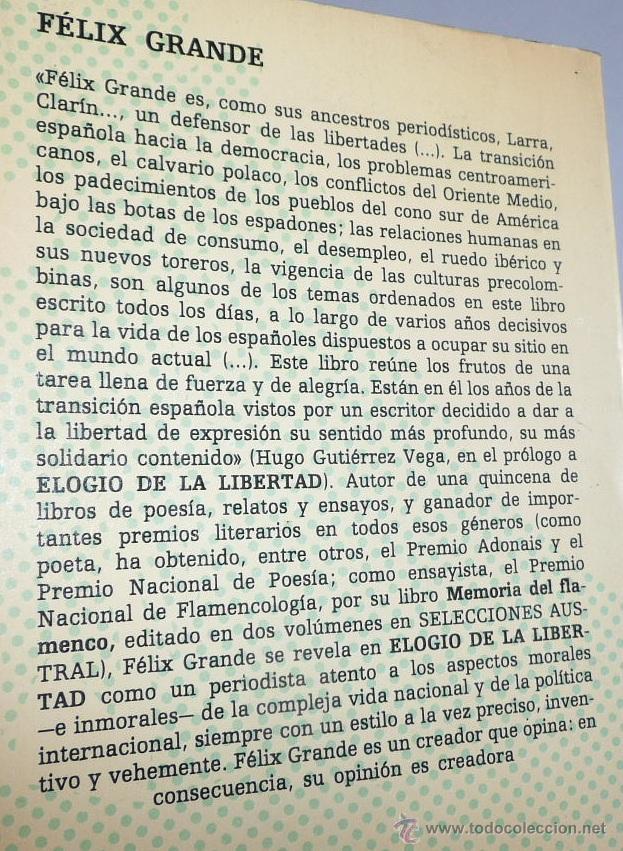 Libros de segunda mano: Elogio de la libertad (Prólogo de Hugo Gutiérrez Vega) - Félix Grande (Selecciones Austral) - Foto 2 - 49159650