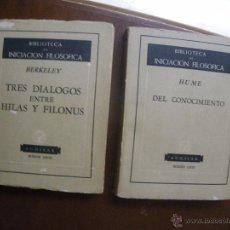 Libros de segunda mano: 2 LIBROS BIBLIOTECA INICIACION FILOSOFICA. BERKELEY Y HUME. ED AGUILAR Y 1960 (3ª ED) Y 1959 (2º ED). Lote 51652535