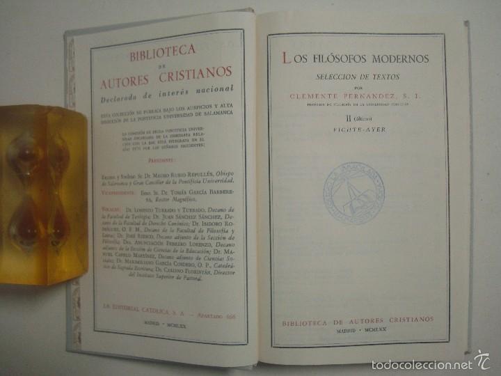Libros de segunda mano: CLEMENTE FERNANDEZ. LOS FILOSOFOS MODERNOS. 1970. 2 TOMOS. PAPEL BIBLIA - Foto 4 - 56969598