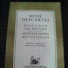 Libros de segunda mano: DISCURSO DEL METODO/ MEDIATCIONES METAFISICAS. RENE DESCARTES. FILOSOFIA.. Lote 57951112
