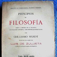 Libros de segunda mano: PRINCIPIOS DE FILOSOFIA, GUILLERMO WUNDT, BTCA. JURISPRUDENCIA FILOSOFIA HISTORIA , MADRID 1922.. Lote 221640086