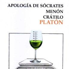 Libros de segunda mano: APOLOGÍA DE SÓCRATES, MENÓN, CRÁTILO. PLATÓN. Lote 58327580