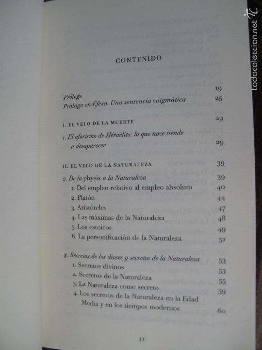 Libros de segunda mano: EL VELO DE ISIS. ENSAYO SOBRE LA HISTORIA DE LA NATURALEZA.- PIERRE HADOT.- ALPHA DECAY. CNL.- - Foto 2 - 166959436