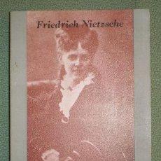 Libros de segunda mano: NIETZSCHE, FRIEDRICH WILHELM : MI HERMANA Y YO. Lote 122180284