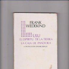 Libros de segunda mano: FRANK WEDEKIND - LULU, EL ESPÍRITU DE LA TIERRA / LA CAJA DE PANDORA - ICARIA ED. 1980. Lote 75771879