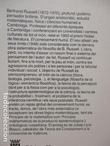 Libros de segunda mano: El coneixement humà I i II. Bertrand Russell Ed 62 Clàssics del pensament modern 23*-23** 1985 1a ed - Foto 6 - 81209972