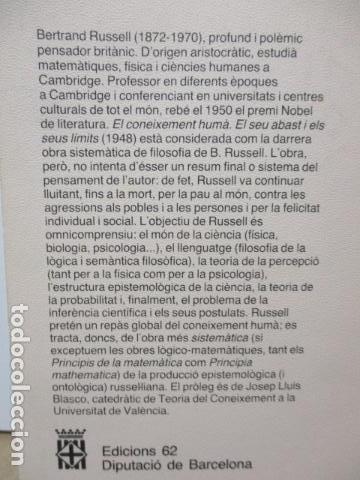 Libros de segunda mano: El coneixement humà I i II. Bertrand Russell Ed 62 Clàssics del pensament modern 23*-23** 1985 1a ed - Foto 10 - 81209972
