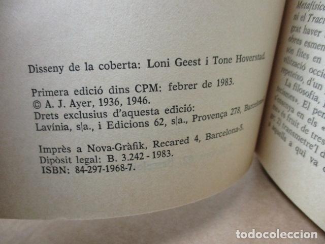 Libros de segunda mano: A. J. Ayer: Llenguatge, veritat i lògica (Traducció i pròleg de Josep-Lluís Blasco) - Foto 3 - 81219964
