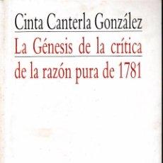 Libri di seconda mano: LA GÉNESIS DE LA CRÍTICA DE LA RAZÓN PURA DE 1781 (C. CANTERLA 1987) SIN USAR. Lote 82673224
