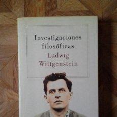 Libros de segunda mano: LUDWIG WITTGENSTEIN - INVESTIGACIONES FILOSÓFICAS. Lote 89623856