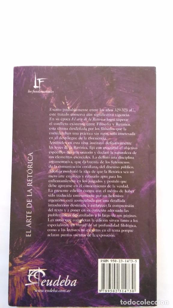 Libros de segunda mano: ARISTÓTELES: El arte de la retórica. Eudeba, Argentina. - Foto 2 - 90561465