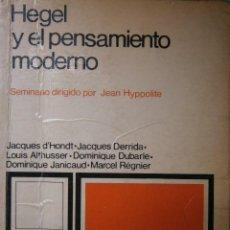 Libros de segunda mano: HEGEL Y EL PENSAMIENTO MODERNO SEMINARIO DIRIGIDO POR JEAN HYPPOLITE SIGLO VEINTIUNO 1973. Lote 91306380