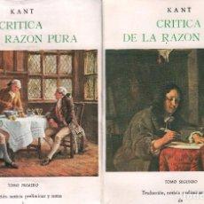 Libros de segunda mano: CRITICA DE LA RAZON PURA - KANT / 2 TOMOS / JUAN B. BERGUA . MUNDI-2341. Lote 91800860