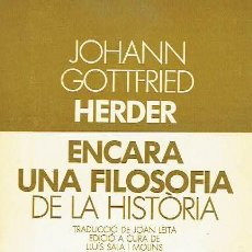 Libros de segunda mano: ENCARA UNA FILOSOFIA DE LA HISTÒRIA. JOHANN GOTTFRIED HERDER.. Lote 95815643