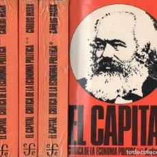 Libros de segunda mano: MARX : EL CAPITAL - TRES TOMOS (FONDO DE CULTURA, 1978). Lote 97326823