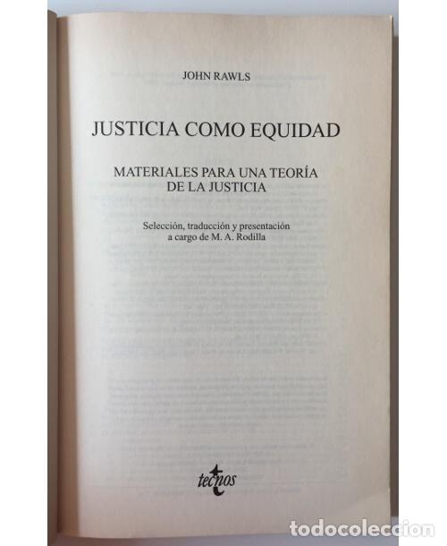 Libros de segunda mano: LA JUSTICIA COMO EQUIDAD - Foto 2 - 100714931