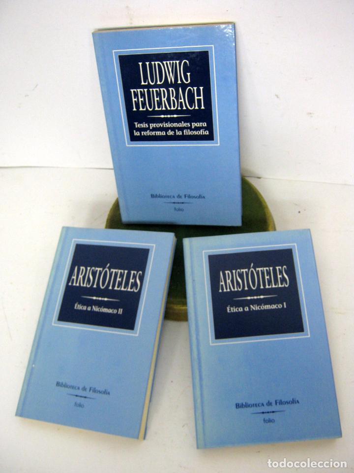 LOTE 3 LIBROS BIBLIOTECA DE FILOSOFIA FOLIO - ARISTOTELES Y FEUERBACH (Libros de Segunda Mano - Pensamiento - Filosofía)