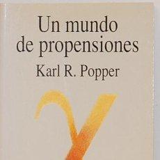 Libros de segunda mano: UN MUNDO DE PROPENSIONES-KARL R. POPPER-EDIT. TECNOS. Lote 102043631