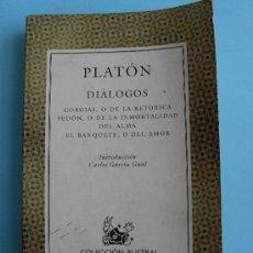 Libros de segunda mano: PLATÓN - DIÁLOGOS: GORGIAS. FEDÓN. EL BANQUETE. 42ª EDICIÓN SEPTIEMBRE 2005 CON APÉNDICE DIDÁCTICO. Lote 105931847