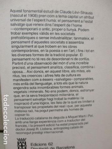 Libros de segunda mano: EL PENSAMENT SALVATGE. Traduccio de Miquel Marti i Pol (Catalán) – 1985 - de Claude Levi Strauss - Foto 8 - 109317955