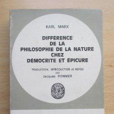 Libros de segunda mano: DIFFÉRENCE DE LA PHILOSOPHIE DE LA NATURE CHEZ DÉMOCRITE ET ÉPICURE, DE KARL MARX. Lote 109398255