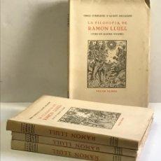 Libros de segunda mano: LA FILOSOFIA DE RAMON LLULL (CURS EN QUATRE VOLUMS). ESCLASANS, A. ED. 100 EXEMPLARS. 1956. Lote 110192835