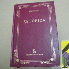 Libros de segunda mano: ARISTOTELES:RETÓRICA (INTRODUCC,TRADUCC Y NOTAS:QUINTÍN RACIONERO). Lote 112967203