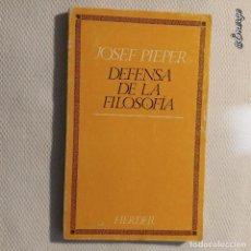Libros de segunda mano: DEFENSA DE LA FILOSOFÍA. JOSEF PIEPER. Lote 113303547