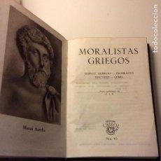 Libros de segunda mano: MORALISTAS GRIEGOS CRISOL 103 1ª ED. 1945. Lote 114833151