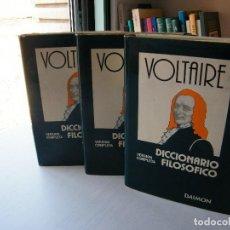 Libros de segunda mano: DICCIONARIO FILOSÓFICO (TRES TOMOS) - VOLTAIRE - EDITORIAL DAIMÓN - BARCELONA (1976). Lote 116747135
