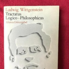 Libros de segunda mano: LUDWIG WITTGENSTEIN. TRACTATUS LOGICO-PHILOSOPHICUS. ALIANZA UNIVERSIDAD. Lote 117050147
