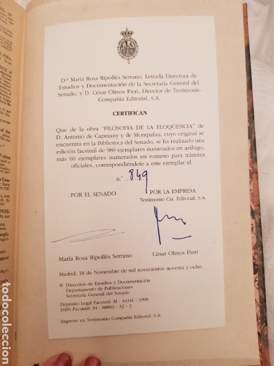 Libros de segunda mano: Edicion facsimil FILOSOFÍA DE LA ELOCUENCIA de D Antonio de Capmany y montparlau. Ejemplar facsímil - Foto 6 - 117067186