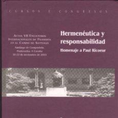 Libros de segunda mano - HERMENÉUTICA Y RESPONSABILIDAD. HOMENAJE A PAUL RICOEUR - 118151599
