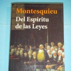 Libros de segunda mano: DEL ESPIRITU DE LAS LEYES - MONTESQUIEU - ALIANZA EDITORIAL, 2003 (COMO NUEVO). Lote 124620051
