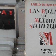 Libros de segunda mano: LAS REGLAS DEL METODO SOCIOLOGICO EMILIO DURKHEIM,ARGENTINA 1973. Lote 124635187