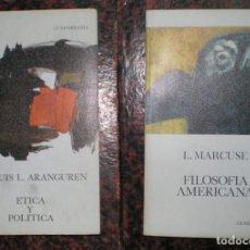 Libros de segunda mano: L. MARCUSE: FILOSOFIA AMERICANA / J.L. ARANGUREN: ETICA Y POLITICA. Lote 125304051