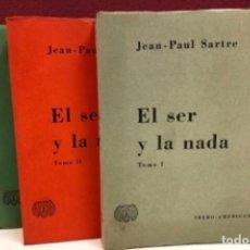 Libros de segunda mano: EL SER Y LA NADA. JEAN PAUL SARTRE ED. IBERO-AMERICANA 1961. 3 TOMOS.. Lote 126068095