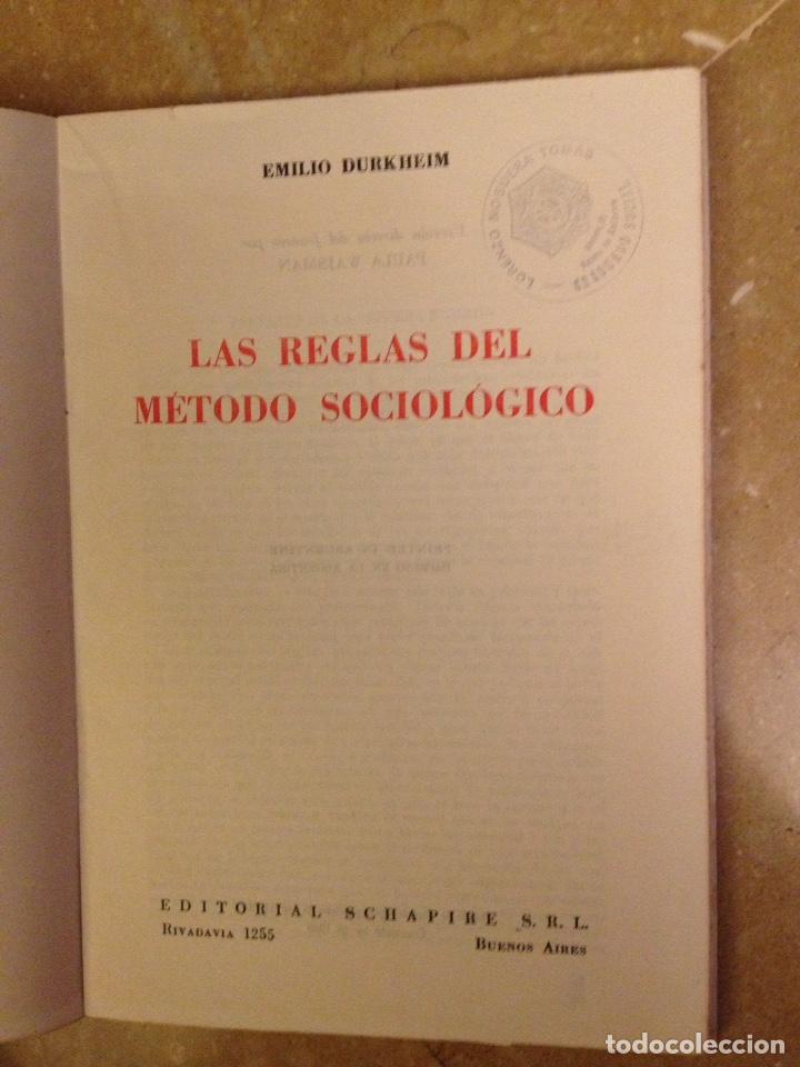 Libros de segunda mano: Las reglas del método sociológico (Emilio Durkheim) Editorial Schapire, Argentina 1965 - Foto 2 - 126600264