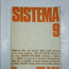 Libros de segunda mano: SISTEMA REVISTA DE CIENCIAS SOCIALES. Nº 9. ABRIL 1975. TUÑON DE LARA. EMILIO LLEDO... TDK348. Lote 127834963