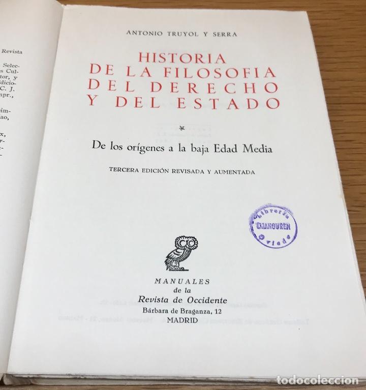 Libros de segunda mano: Historia de la Filosofía del Derecho y del estado - De los Origenes a la Baja Edad Media - A. Truyol - Foto 2 - 195383225