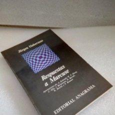 Libros de segunda mano: RESPUESTAS A MARCUSE - JURGEN HABERMAS - ANAGRAMA 1969 1ª ED RARO NUEVO SIN LEER. Lote 129343503