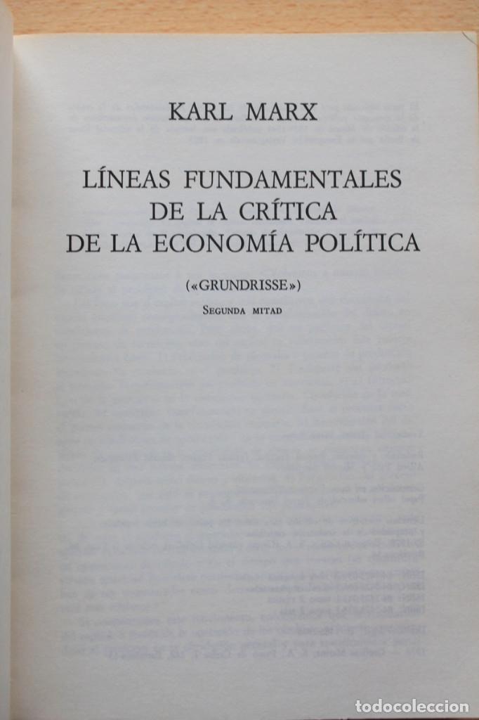 Libros de segunda mano: Karl Marx - Líneas fundamentales de la crítica de la economía política (Grundrisse) Segunda mitad - Foto 3 - 130566434