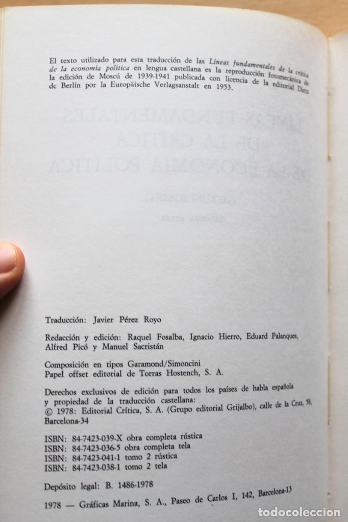Libros de segunda mano: Karl Marx - Líneas fundamentales de la crítica de la economía política (Grundrisse) Segunda mitad - Foto 4 - 130566434