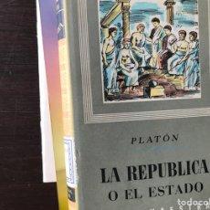 Libros de segunda mano: LA REPÚBLICA O EL ESTADO. PLATÓN. Lote 131931574