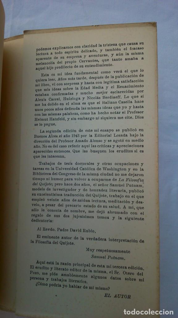Libros de segunda mano: La filosofía del Quijote. 1953. David Rubio - Foto 5 - 132840366