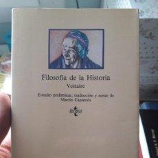 Libros de segunda mano: FILOSOFÍA DE LA HISTORIA DE VOLTAIRE EDITORIAL TECNOS. RARA EDICIÓN. Lote 134035442