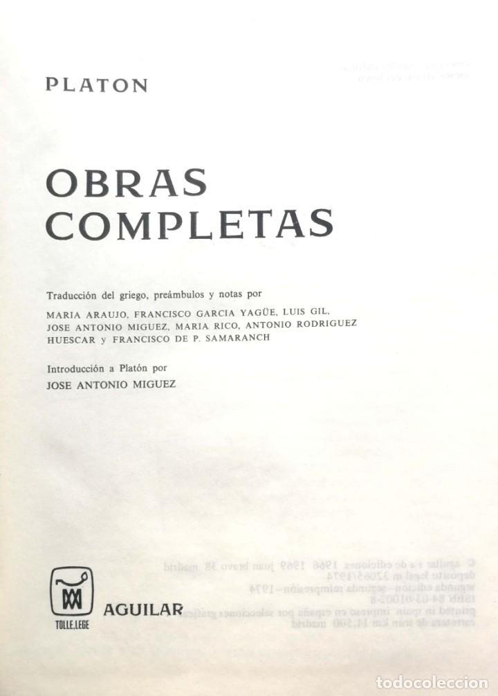 PLATÓN. OBRAS COMPLETAS. MADRID, 1974. AGUILAR (Libros de Segunda Mano - Pensamiento - Filosofía)