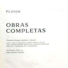 Libros de segunda mano: PLATÓN. OBRAS COMPLETAS. MADRID, 1974. AGUILAR. Lote 137263282